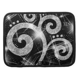 Faux Silver Glitter Swirl Custom Initials Organizer