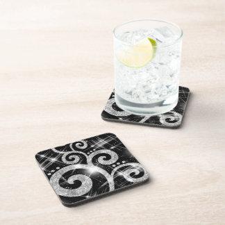 Faux Silver Glitter Swirls Coaster