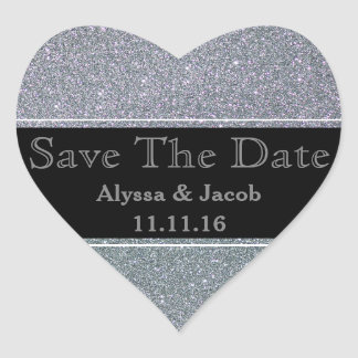 Faux Silver Glitter Wedding  Save the Date Heart Sticker