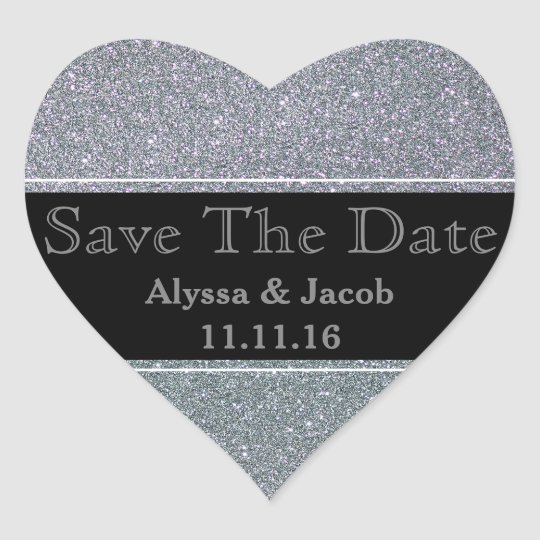 Faux Silver Glitter Wedding Save the Date Heart