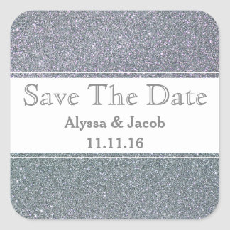 Faux Silver Glitter Wedding  Save the Date Square Sticker
