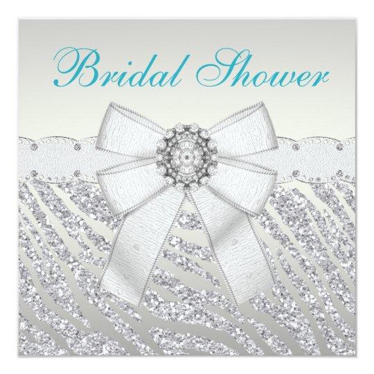 Faux Silver Glitter Zebra Stripes Bridal Shower Card