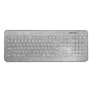 Faux silver glittery image print wireless keyboard