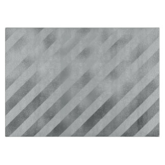 Faux Silver Gray Metallic Diagonal Grey Stripes Cutting Board