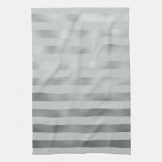 Faux Silver Gray Metallic Horizontal Grey Stripes Tea Towel