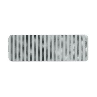 Faux Silver Gray Metallic Vertical Narrow Grey Return Address Label