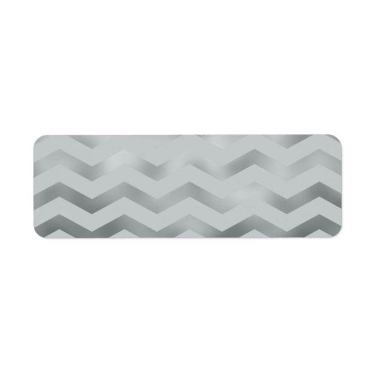 Faux Silver Grey Foil Chevron Zig Zag Texture Return Address Label