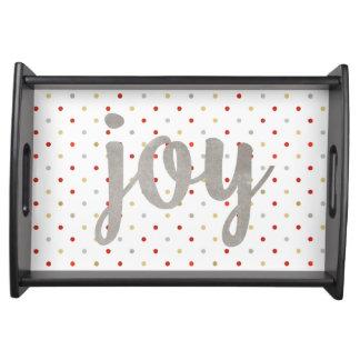 Faux Silver Joy Polka Dots Christmas Serving Tray