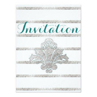 Faux Silver Leaf Damask Engagement Invitation Teal