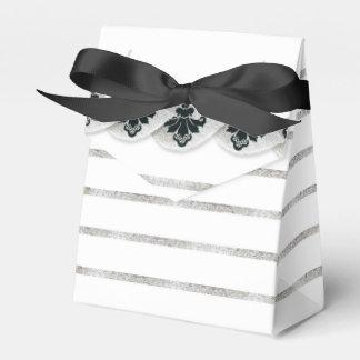 Faux Silver Leaf Damask Striped Favor Box Black Party Favour Boxes