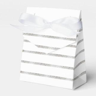Faux Silver Leaf Damask Striped Favor Box Party Favour Boxes