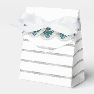 Faux Silver Leaf Damask Striped Favor Box Teal Party Favour Box