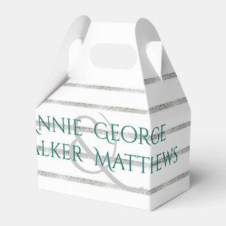 Faux Silver Leaf Wedding Personalized Favor Box Favour Box