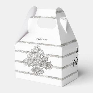 Faux Silver Leaf Wedding Personalized Favor Box Wedding Favour Box