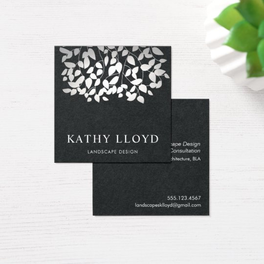 Faux Silver Leaves Landscape Designer Black Square Business Card