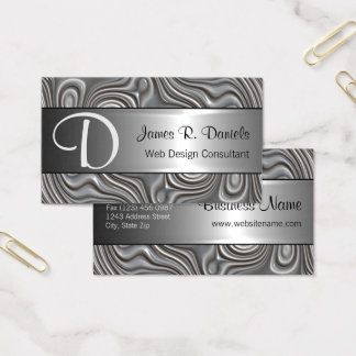 Faux Silver Metal Modern 3D Liquid Swirls Pattern Business Card
