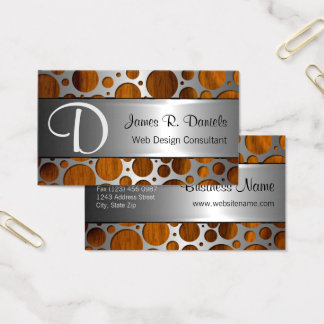 Faux Silver Metal Modern Trendy Wood Grain Pattern Business Card