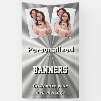 Faux silver metallic gray banner