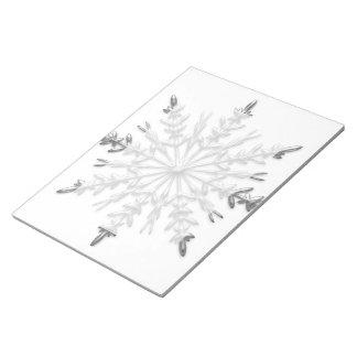 Faux Silver Metallic Winter Snowflakes Notepad