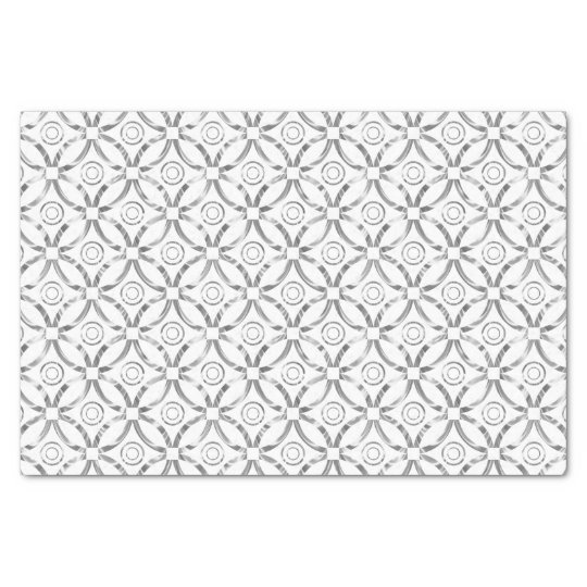Faux Silver Modern Pattern White Background Tissue Paper