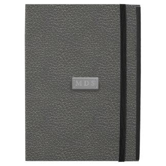 Faux Silver Monogram Black Leather iPad Pro Case