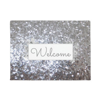 faux silver sequin glitter welcome doormat