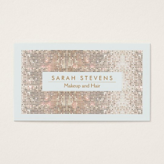 FAUX Silver Sequin Makeup and Hair Business Card