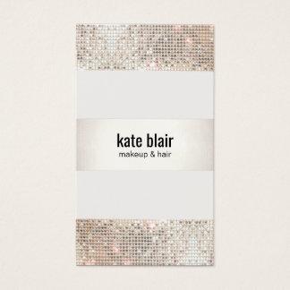 Faux Silver Sequin Stripes Beauty Salon Business Card
