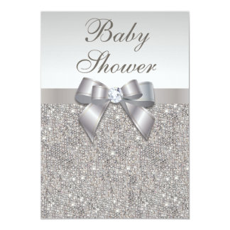 Faux Silver Sequins and Bow Neutral Baby Shower 13 Cm X 18 Cm Invitation Card