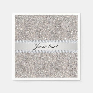 Faux Silver Sequins and Diamonds Disposable Napkin