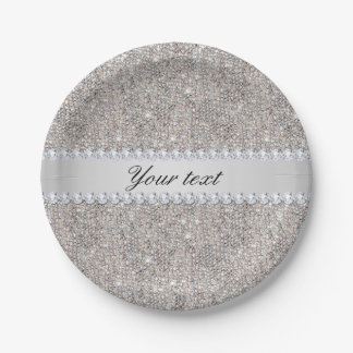 Faux Silver Sequins and Diamonds Paper Plate