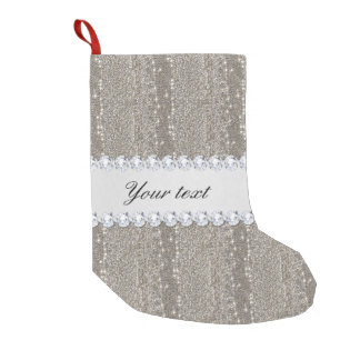 Faux Silver Sequins and Diamonds Small Christmas Stocking