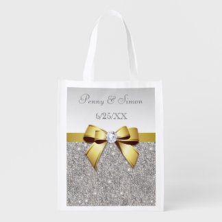 Faux Silver Sequins and Gold Bow Wedding Favor