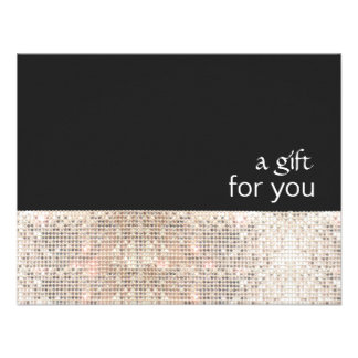 FAUX Silver Sequins Black Salon Gift Certificate Custom Invitations