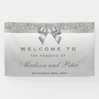 Faux Silver Sequins Bow Diamond Wedding