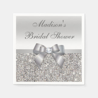 Faux Silver Sequins Bow Personalized Bridal Shower Paper Serviettes