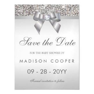 Faux Silver Sequins Bow Save The Date Baby Shower Magnetic Invitations