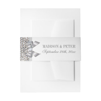 Faux Silver Sequins Bow Wedding Invitation Belly Band