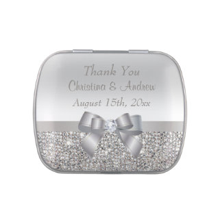 Faux Silver Sequins & Bow Wedding Thank You Favors Jelly Belly Tins