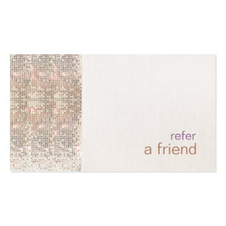 Faux Silver Sequins Customer Referral Salon Pack Of Standard Business Cards
