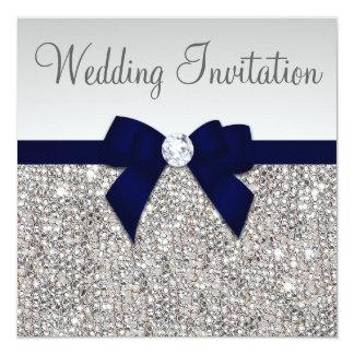 Faux Silver Sequins Diamonds Dark Navy Bow Wedding 13 Cm X 13 Cm Square Invitation Card