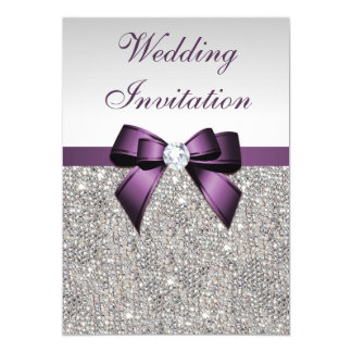 Faux Silver Sequins Diamonds Purple Bow Wedding 13 Cm X 18 Cm Invitation Card