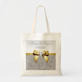 Faux Silver Sequins Gold Bow Wedding Favor Budget Tote Bag