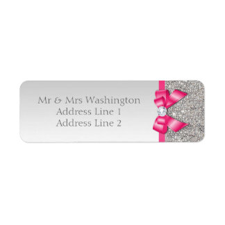 Faux Silver Sequins Hot Pink Bow and Diamond Return Address Label