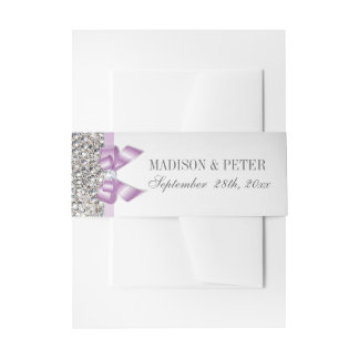 Faux Silver Sequins Lilac Bow Wedding Invitation Belly Band