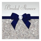 Faux Silver Sequins Navy Blue Bow Bridal Shower Card