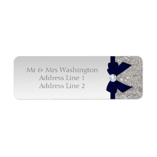 Faux Silver Sequins Navy Bow and Diamond Return Address Label