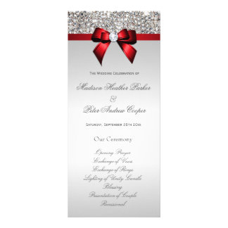 Faux Silver Sequins Red Bow Wedding Program Rack Card