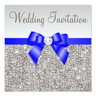 Faux Silver Sequins Royal Blue Bow Wedding 13 Cm X 13 Cm Square Invitation Card