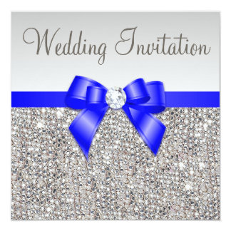 Faux Silver Sequins Royal Blue Bow Wedding Card